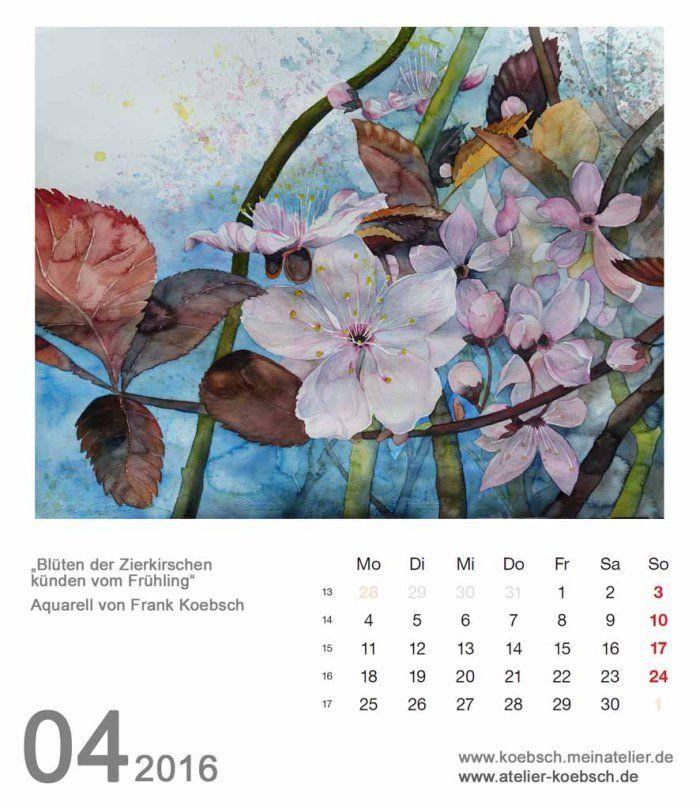 Kalenderblatt April 2016 | Bilder, Aquarelle vom Meer & mehr - von Frank Koebsch