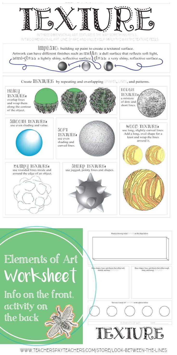 Element Of Art Texture Worksheet Visual Art In Class Activity Elements Of Art Texture Elements Of Art Space Elements Of Art Line