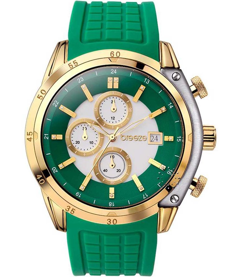BREEZE Stylish Tech Chrono Green Rubber Strap Τιμή: 170€ http://www.oroloi.gr/product_info.php?products_id=35266