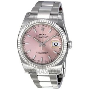 Steel Oyster Bracelet 18kt White Gold Bezel Mens Watch 116234pso by #Rolex    Stainless steel case with a stainless steel oyster bracelet. Fixed fluted 18kt white gold bezel. Pink dial with silver-tone hands and index hour markers.
