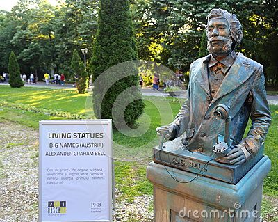 Living statue - Alexander Graham Bell at international festival of living statues in Bucharest, Romania.