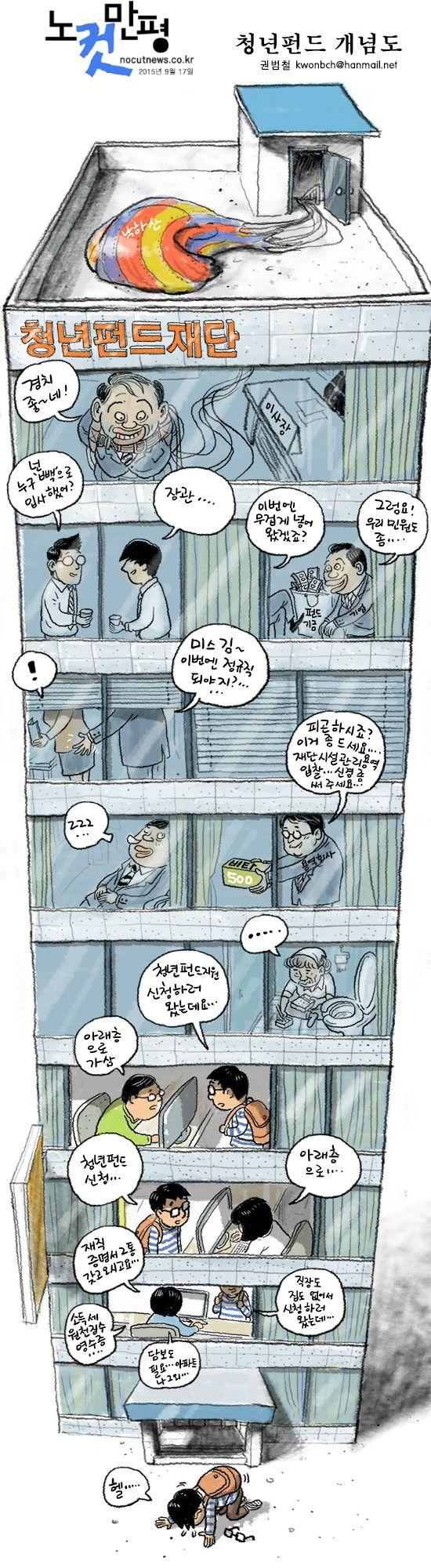 [노컷만평] 청년펀드 개념도 #만평
