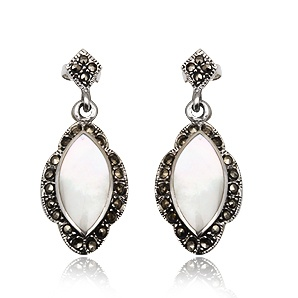Vintage earrings in sterling silver, nacre and marcasite. Tax free $37.90