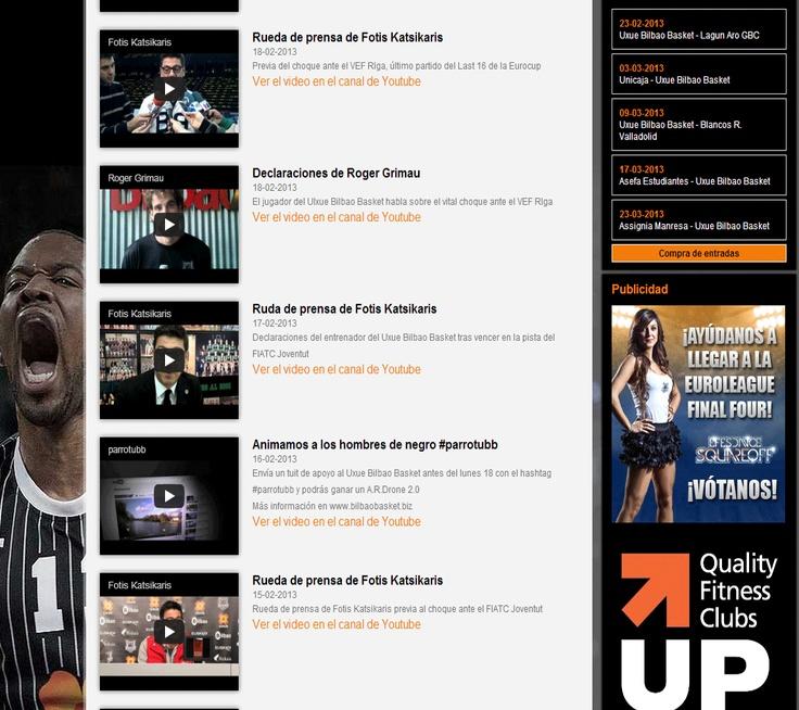 Imagen extraída de la web de Bilbaobasket en la que nos muestra su sección de vídeos en Youtube.
