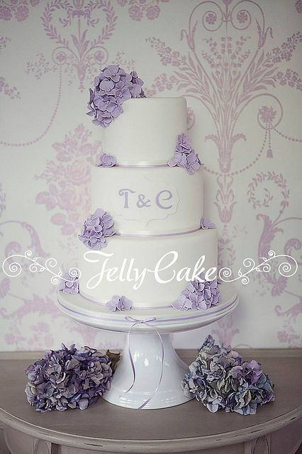 Lilac Hydrangeas Wedding Cake by www.jellycake.co.uk, via Flickr