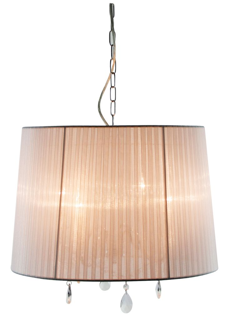 The Diana is a stunning contemporary 4 light chrome chandelier featuring a lovely white organza shade and beautiful crystals. The chain suspension with clear flex cord, can be shortened by removing links of chain. Ideal for use with incandescent candle bulbs or compact fluorescent bulbs.