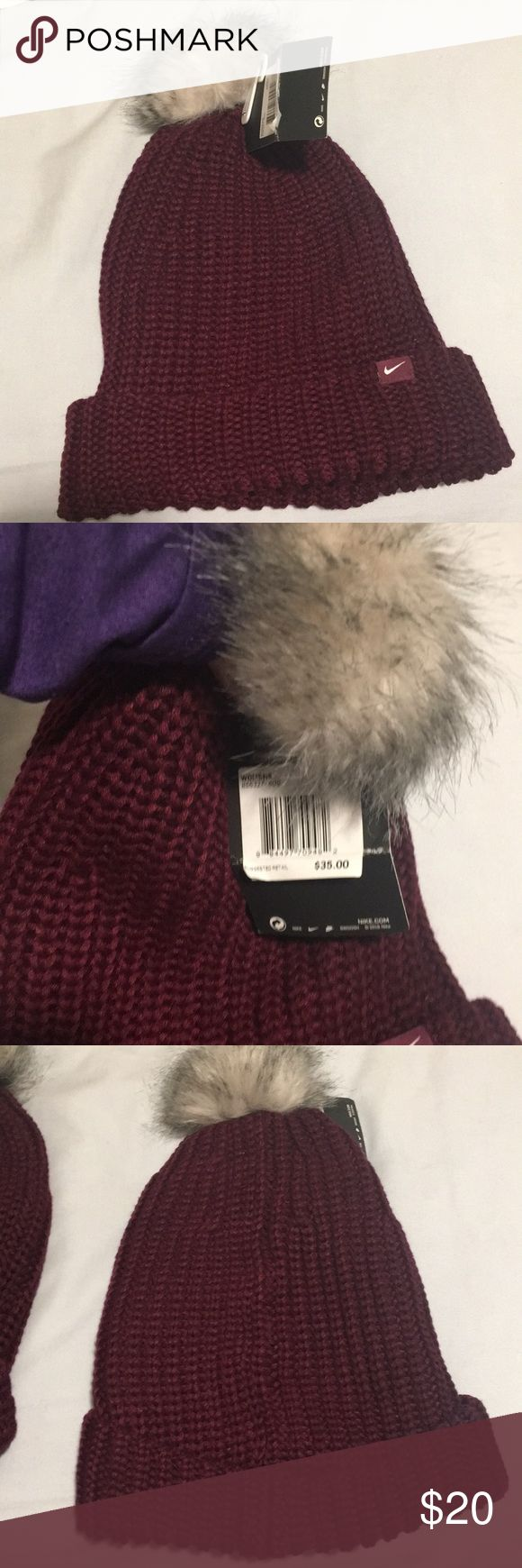 Brand New Nike Beanies Two maroon beanies with puffball on top. One still with tag on it never been worn. One worn once but no serious signs of being worn. Originally 35$ given at a raffle and do not need. Nike Accessories Hats