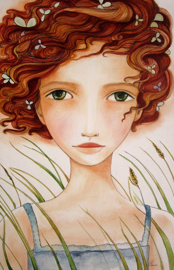 the little girl in the wind art print by PrintIllustrations, $20.00