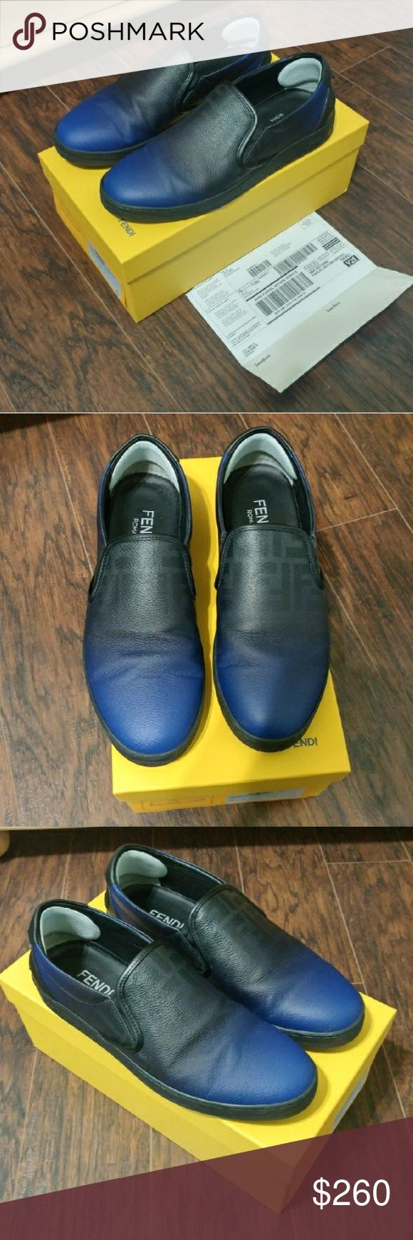 Fendi zucca ombre leather slip on loafer 100% Authentic with receipt comes with original box   Paid $455 plus tax at neiman marcus  Located in fort worth  I will consider reasonable offer please text  817676412three Fendi Shoes Loafers & Slip-Ons