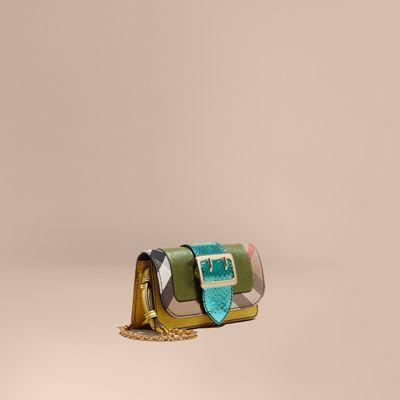 Borsa The Buckle in pelle a grana metallizzata e cotone con motivo tartan House check.
