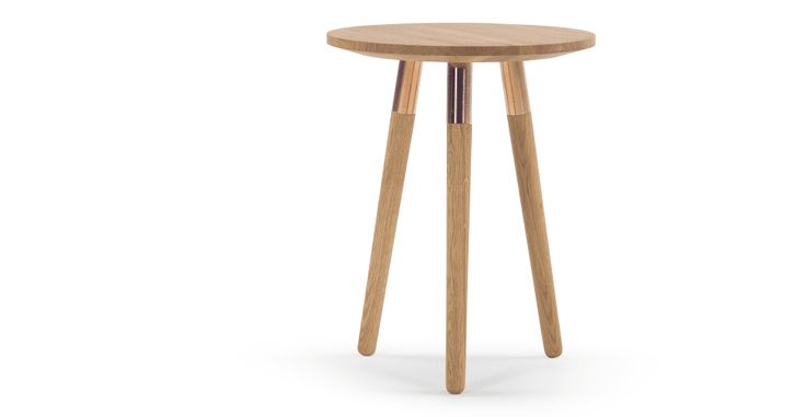 Range Side Table, Solid Oak and Copper | made.com