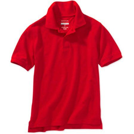 George Boys School Uniforms Husky Size Short Sleeve Polo Shirt with Scotchgard Stain Resistant Treatment, Red