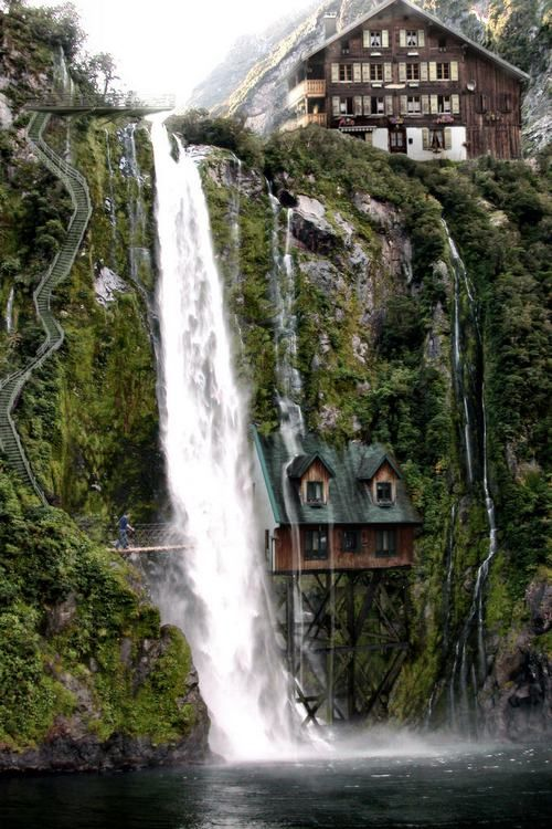 unusual houses - Bing Images: Dreams Home, Beautiful, Waterfall, Dreams House, Switzerland, Travel, Places, Waterfal House, Fantasy House