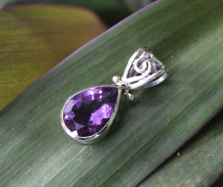 Amethyst Teardrop Pendant -  gorgeous genuine Amethyst  gemstone framed in sterling silver.  www.opusjewels.com.au