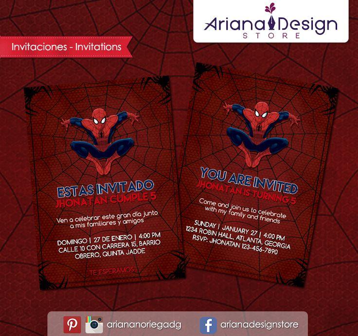 #printable #invitation #spiderman #superheroes #arianadesignstore #invitacion #fiestainfantil #cumpleaños #hombrearaña