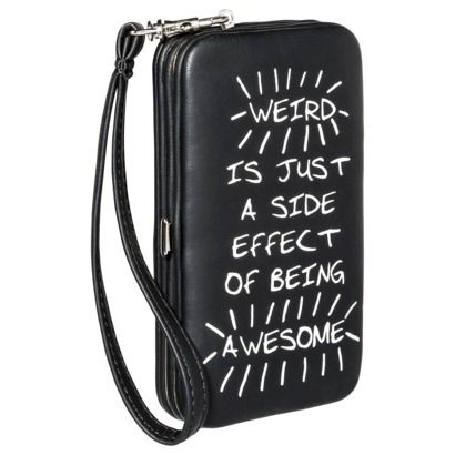 Prined Phone Case Wallet with Removable Wristlet Strap - Black