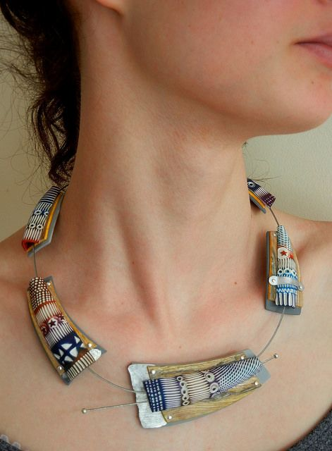 Rain over Namaqualand - polymer clay necklace by Sonya Girodon.