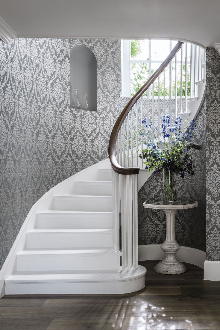 Stylish Grey Hallway Wallpaper. Hallway WallpaperWallpaper IdeasWallpaper  DesignsDamask ...
