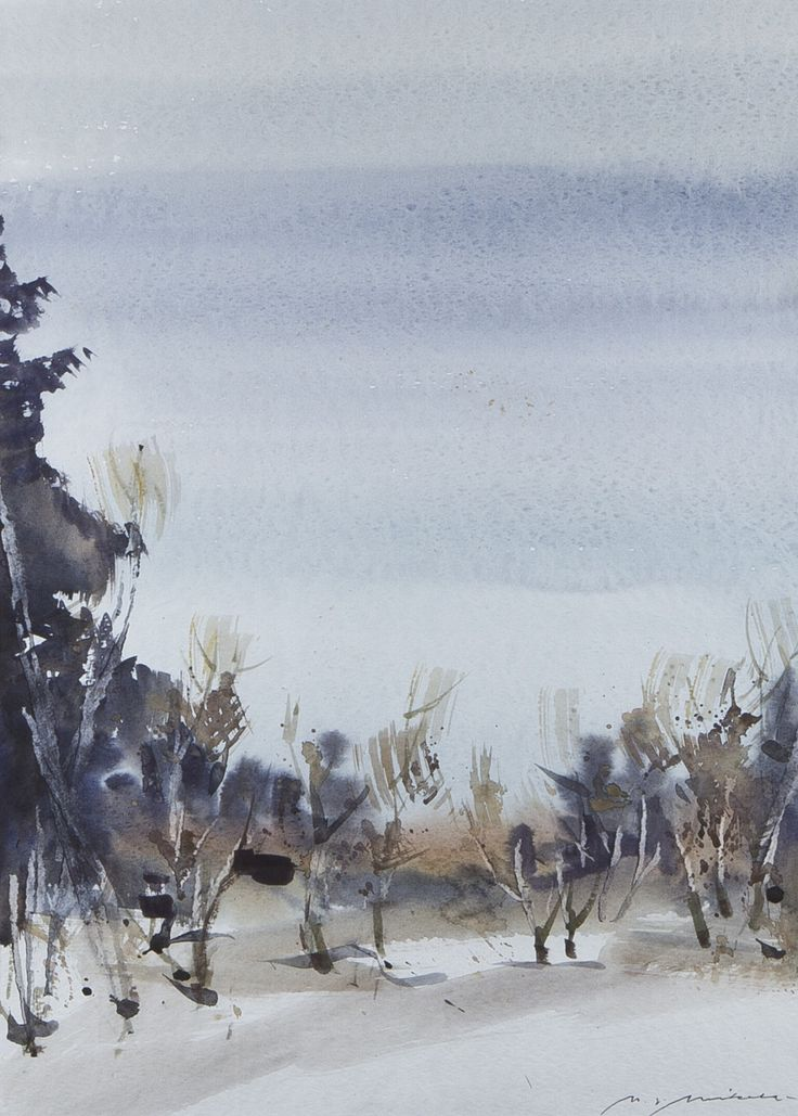 Nandor Mikola(Finnish 1911-2006)Trees   watercolour   via