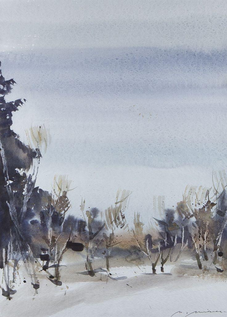 Nandor Mikola(Finnish 1911-2006)Trees watercolour via