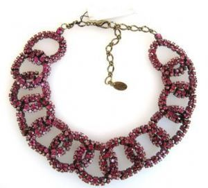 Fusia Swarovski crystal link necklace