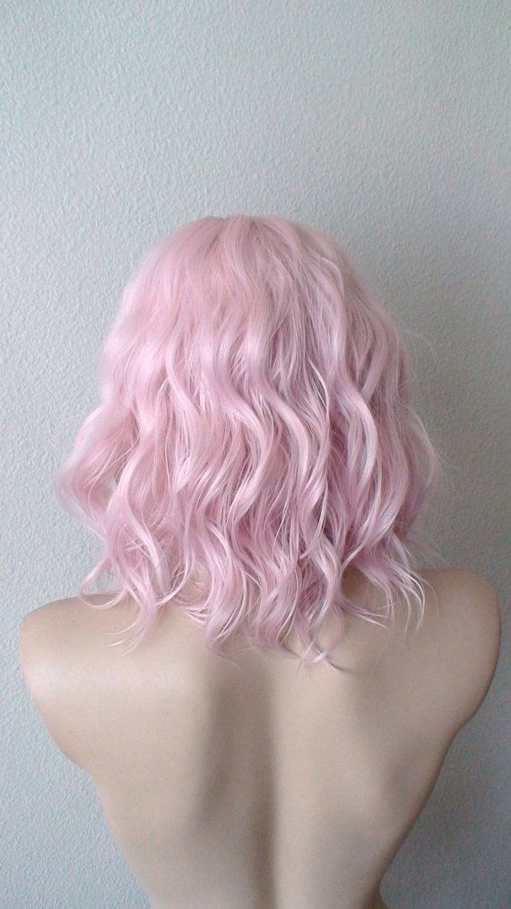 www.suncolorhair.com sales1@suncolorhair.com Beach wavy hairstyle wig. Pastel light pink color wig.