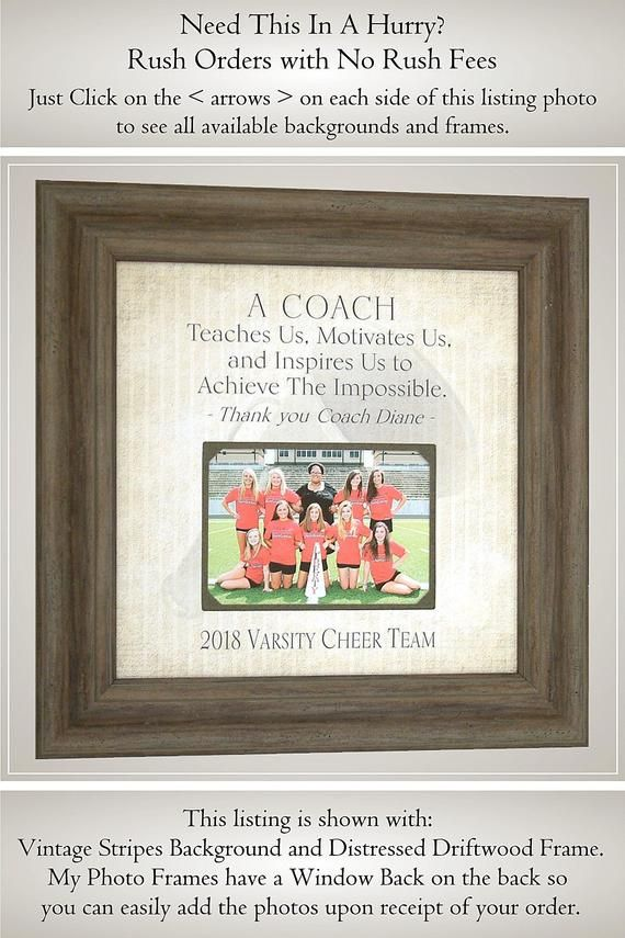 Cheerleading Gifts For Cheer Coach Personalized Photo Frame Cheerleader Gifts From Photoframeoriginals Cheerleading Gifts Cheer Coach Gifts Coach Appreciation Gifts