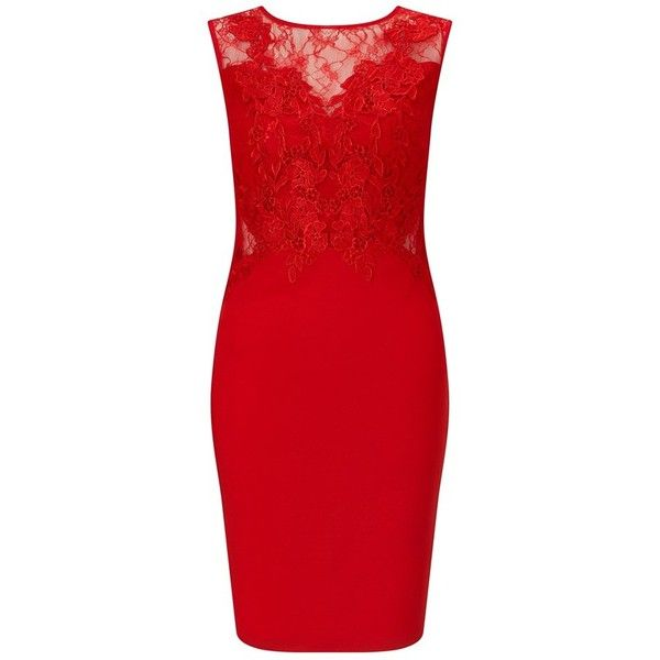 Lipsy Love Michelle Keegan Lace Applique Bodycon Dress ❤ liked on Polyvore featuring dresses, red applique dress, red body con dress, lace body con dress, lacy dress and body conscious dress