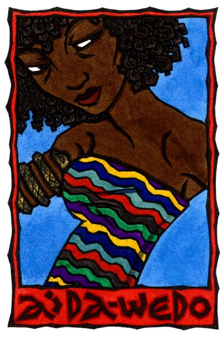 Aida-Wedo es la lúa (espíritu o diosa) de agua, serpientes y el arco iris, representada por el pitón arco iris, una serpiente cuyas escalas son iridiscente. La serpiente arco iris es el símbolo de la integración en muchas partes del mundo, incluyendo África, Australia y América, y representa lo que une el cielo y la tierra, y rodea el mundo a unirse a sus elementos dispares.  En la tradición vudú, Aida-Wedo (y su marido Damballah) pertenecen a la Rada lúa, o espíritus que han salido de los…