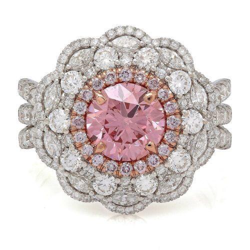 3-72-TCW-Round-Fancy-Vivid-Pink-Diamond-VVS2-GIA-18K-White-Gold-Engagement-Ring