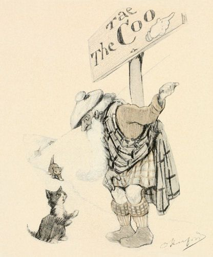 A vintage drawing of a young cat asking for directions.