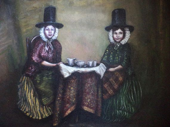 Painting of Women Having Tea | Tea Party, Original Painting, Welsh Costume, Women, Victorian Themed ...