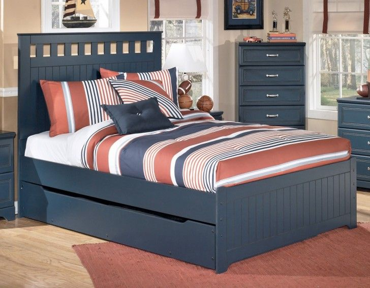 Bedroom dark grey wooden queen size bed with trundle for Queen bed with bed underneath