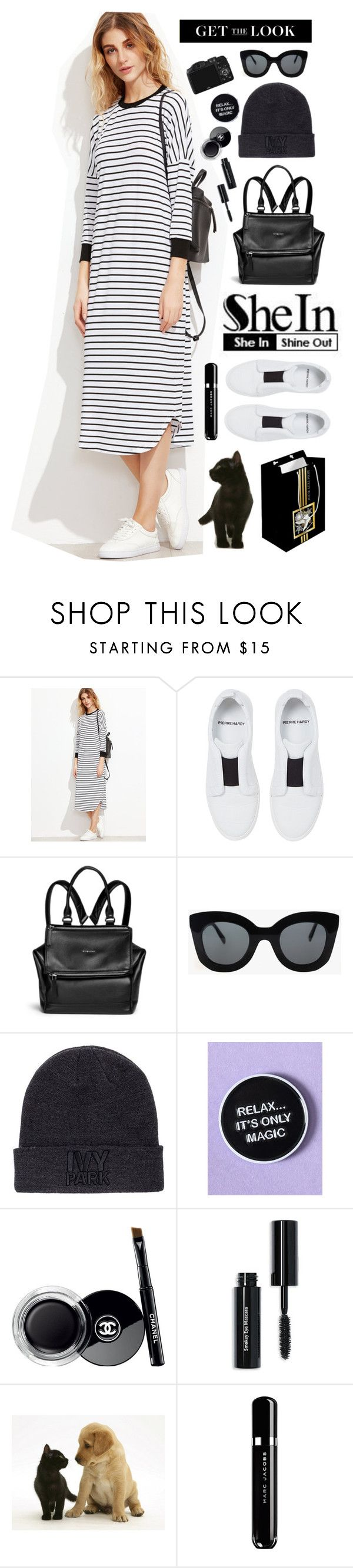 """""""Get the Look ;)"""" by natyleygam ❤ liked on Polyvore featuring Pierre Hardy, Givenchy, CÉLINE, Ivy Park, Chanel, Bobbi Brown Cosmetics, CO and Marc Jacobs"""