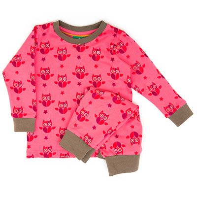 Night owl pyjamas come in the softest cotton with ribbed cuffs on legs and arms. 100% Organic Fairtrade Interlock. From 1 to 6 years.   http://www.jamorganic.com/product/night-owl-pyjamas/
