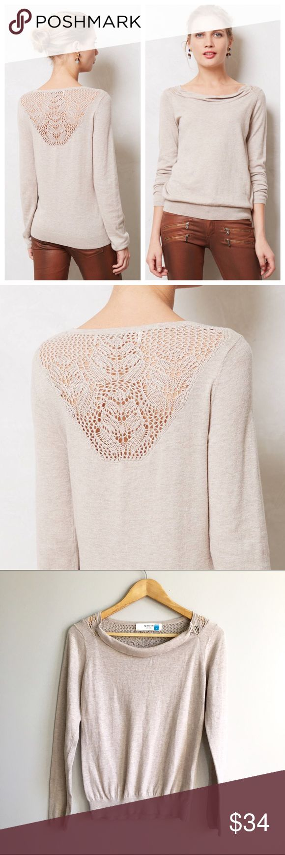 Anthropologie Aida Cowlneck Pretty a drapey cowlneck and delicate crocheted back, Sparrow's lightweight pullover is perfect with both your go-to weekend denim and a prim pencil skirt. Pullover styling Cotton, nylon, viscose, angora, cashmere Hand wash Anthropologie Sweaters Crew & Scoop Necks