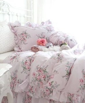 Vintage Pretty Pink Roses Cotton 4pc Duvet