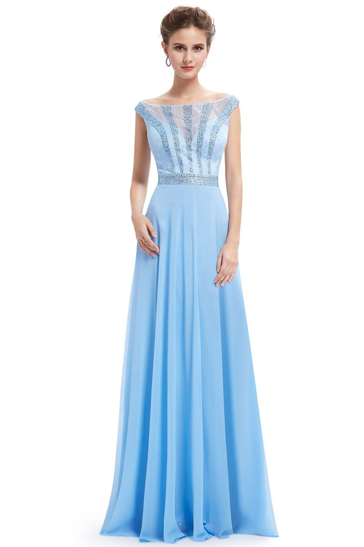 Sky Blue Sequin Chiffon Evening Dress - Light Blue Maxi Dress - Fashionhub.