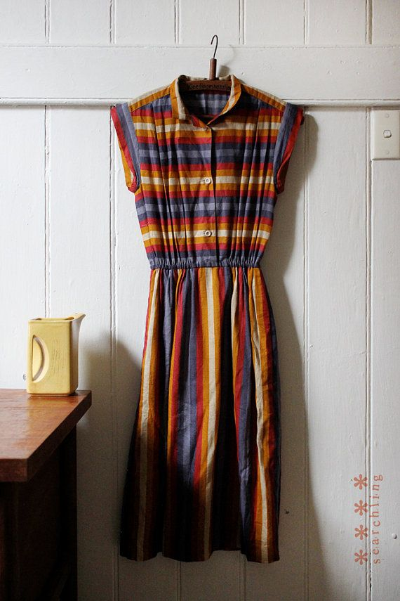 Vintage 1970's purple red yellow striped dress - Small