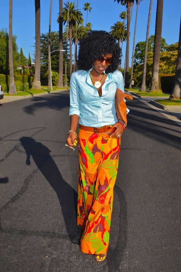....love my girl StylePantry...Striped Button Up Shirt + Tribal Maxi Skirt