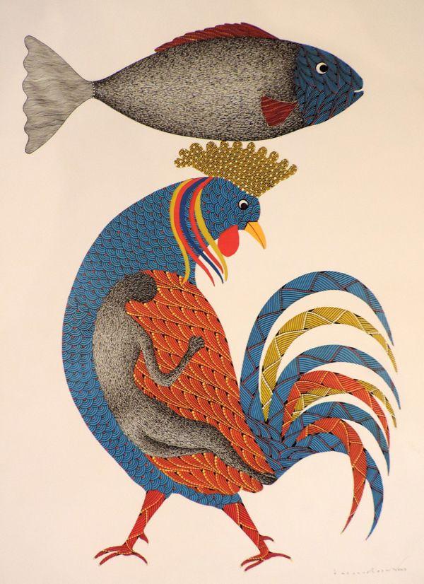 Fish and Cock (Story of Creation)  _  Venkat Raman Singh