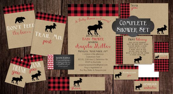 Printable Lumberjack Baby Shower, Baby Shower Invitation, Moose Baby Shower