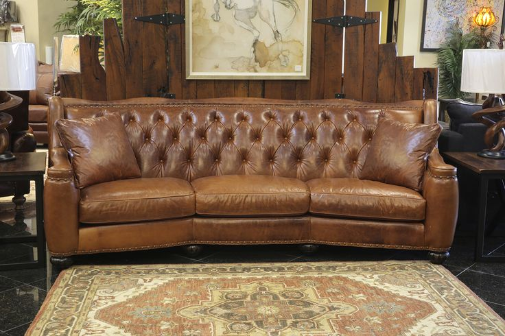 Treat Your Living Room To This High Quality Tufted Full Grain Leather Sofa!  After