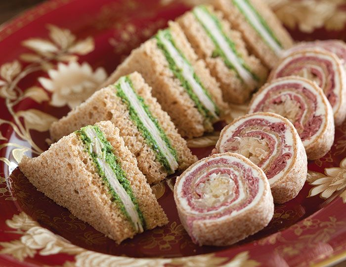 """Savories from Harvest Moon Tea [""""This recipe is for the Kale-Pecan pesto & turkey tea sandwiches on the left - the Reuben Roulades on the right are pinned on a separate pin, but on the same """"Devonshire & High Tea xo"""" board. You'll find that both recipes are elegant & flavourful, Keva xo""""]."""