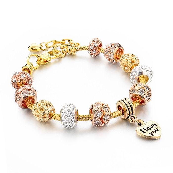 Buy at https://www.etsy.com/shop/AsiaJewelry  #jewelry #jewellery #diy #handmade #gift #murano #bracelet #crystal #gold #love #charm