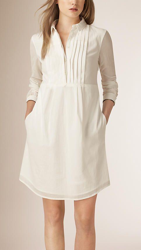 Branco Vestido de algodão com detalhe plissado - Imagem 1