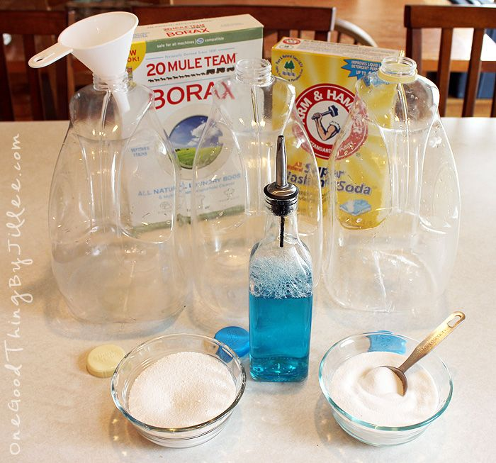 Jillee's Super Fast & Easy Homemade Laundry Detergent  3 Tablespoons Borax  3 Tablespoons Washing Soda  2 Tablespoons Dawn Dish soap  4 cups of VERY HOT water    Add soda, borax, and Dawn to a 1 gallon container. Pour in hot water and swirl until all ingredients are dissolved. Fill to top with cold water.