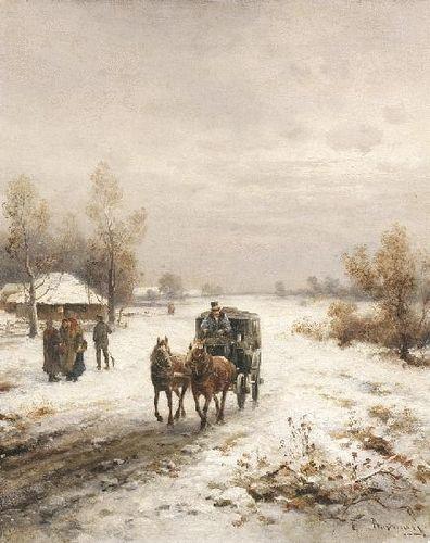 Emil Barbarini: Postkutsche auf dem verschneiten Weg vor einem Dorf aus unserer Rubrik: Gemälde des 19. Jahrhunderts