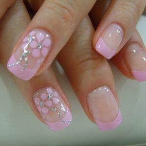 Pink Flower, Nails Art Ideas, Wedding Nails, French Manicures, Nails Design, Flower Nails, Pink Nails, French Tips, Nails Art Design