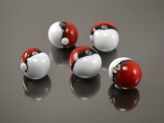 Pokeball beads, glass pokeball, lampwork beads, glass round beads, crystal pokeball, pokemon go Each glass lampwork pokeball bead made by hand. Round beads fit for making earrings, bracelets or pendants. These lampwork beads are in stock. Any quantity is available for order. If you want more than you see in the Quantity dropbox, contact me before buying, I will add items for you. Price is for 1 lampwork bead. The size of beads: diameter - 8-9mm (0.31- 0.35) bead hole - 1.8 mm (0.07) Han...